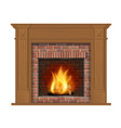 wooden classic fireplace with wooden decor vector image