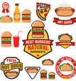 Set of hot dogs hamburgers tacos labels badges and vector image