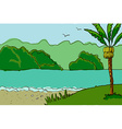 Palm trees and river vector image