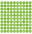 100 hand icons hexagon green vector image vector image