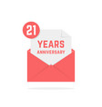 21 years anniversary icon in red open letter vector image vector image