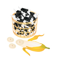A Brown Basket of Sweet Banana Candies vector image vector image