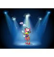 A clown performing on a stage under the spotlights vector image vector image
