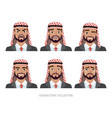arab businessman character set of emotions vector image vector image