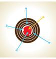arrow pointed on boy head or focus concept vector image