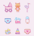 baby love cartoons collection vector image vector image
