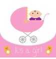 Baby pink carriage Its a girl Flat design style vector image vector image