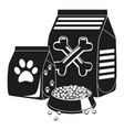 black and white pet food silhouette vector image