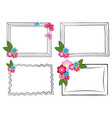 black and white photo frames with colorful flowers vector image vector image