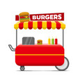 burgers street food cart colorful image vector image