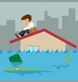 business man on roof house flood city vector image