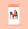 businesswoman freelancer sitting at workplace vector image vector image