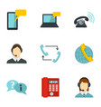 call center service icons set flat style vector image vector image