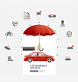 car insurance services business man hold umbrella vector image vector image