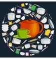 cartoon kitchen utensil set collection orange vector image vector image