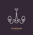 chandelier flat line icon home lighting light vector image vector image