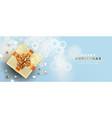 christmas new year copper top view gift box card vector image vector image