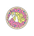 circle composition or logo with unicorn in vector image vector image