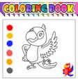 Coloring book happy bird cartoon