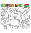 coloring book with school theme 1 vector image vector image