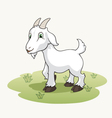 Cute cartoon goat on the grass vector image