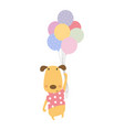 cute dog with balloons vector image vector image