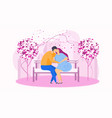 date in the park on the bench gentle words a vector image vector image