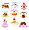 dessert cakes sweets icons for patisserie vector image vector image