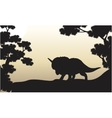 Dinosaur triceratops beautiful scenery of vector image vector image