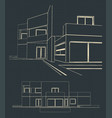 drawing of a modern house vector image vector image