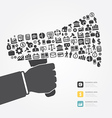 Elements are small icons Finance make in megaphone vector image vector image