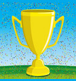 gold cup on a green field vector image