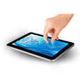 hand with tablet with graph vector image vector image