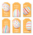 happy easter eggs golden labels set 6 ribbon tags vector image