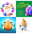 happy easter holidays set greeting cards vector image vector image