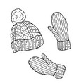 hat and mittens hand drawn vector image vector image
