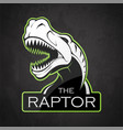 head of dinosaur on a dark background vector image vector image