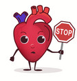 heart character with stop prohibition sign vector image vector image