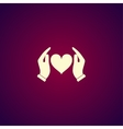 icon - hands holding heart vector image vector image