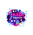 kids creative logo design colorful hand drawn vector image vector image