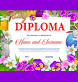 kids education diploma with easter eggs bunnies vector image vector image