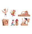 kids playing in cardboards party costume children vector image