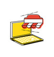 laptop computer with shopping tent vector image vector image