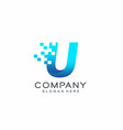 letter u pixel logo technology and digital vector image