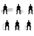 man silhouette sitting on diferent stuff set vector image vector image