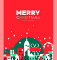 merry christmas card festive winter city vector image vector image