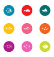minnow icons set flat style vector image vector image