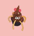 monster spider cupcake sketch vector image