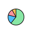 pie chart graphs in segments flat color icon vector image