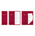 red covered menu book vector image vector image